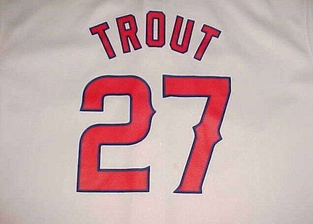 Mike Trout #27 Los Angeles Angels MLB AL Boys White Red Black Jersey L 14-16