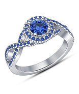 Christmas Gift Blue Sapphire Her Halo Engagement Ring 14k White Over 925... - $74.99