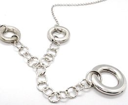 SILVER 925 NECKLACE, CHAIN ROLO', CIRCLES HANGING, PROCESSED AND HAMMERED image 2