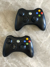 Lot of 2 Authentic Microsoft Xbox 360 Black Controllers TESTED *No Battery Cover - $37.39