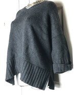 Ann Taylor LOFT SZ L Large Women's Sweater Wool Blend Charcoal Chunky V-... - $19.79