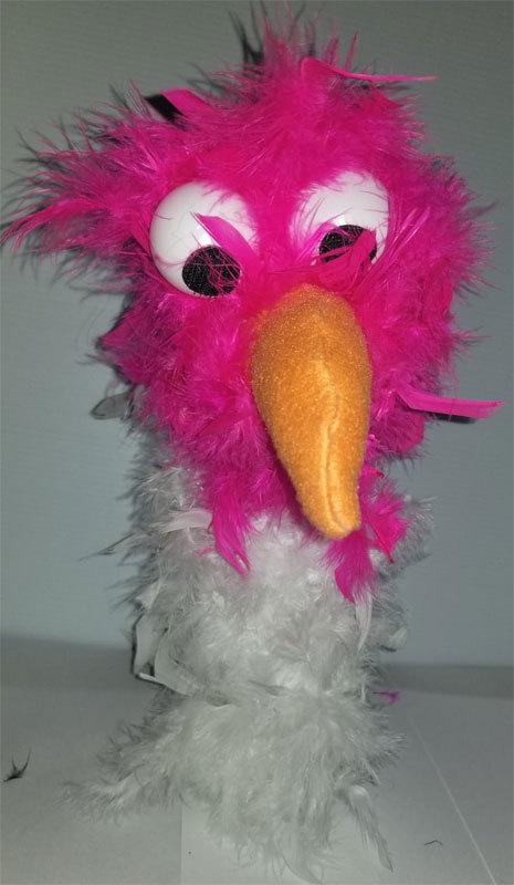 """C9 * Deluxe Custom """"Pink / White Bird""""  Sock Puppet * Custom Made"""