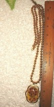 VTG HEAVY GOLD BEAD REAL FLOWER APPLE JUICE LUCITE PENDANT NECKLACE EARR... - $237.99