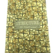 "Structure Men's Tie, 3.75"" X 58"" Necktie, 100% Silk, Brown Geometric Print image 3"