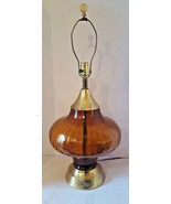 Mid Century Modern Amber Glass & Brass Ribbed Optical Globe Lamp 3 Way L... - $220.27