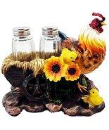 Farm Hay Wagon Sunflower Mother Hen With Chicks Salt Pepper Shakers Holder - $20.95