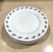 "Vtg Pyrex Double Tough Opal 9"" Luncheon Plates ""Green Leaf"" Pattern Set ... - $60.43"