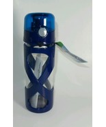 GREEN CANTEEN GLASS HYDRATION BOTTLE W PROTECTIVE COVER BLUE 16oz. #BGHB... - $9.79
