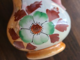 Vintage Lusterware Peach and White Floral Vase, Handpainted Japan image 4