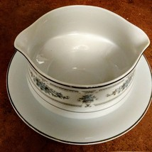 Vintage Japan Gravy Boat with attached plate made by Diane Pattern Wade Fine Por image 2