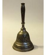 Brass Dinner School Bell Vintage India 165 NF Engraved Ornate Floral Vine  - $30.00