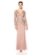 Adrianna Papell Fully Beaded Long Dress, Rosegold, 10 - $217.78