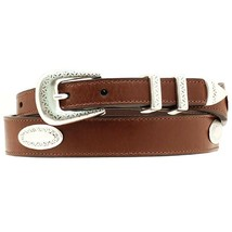 Nocona Top Hand Western Mens Belt Tapered Leather Conchos Brown U-6602 - $41.95