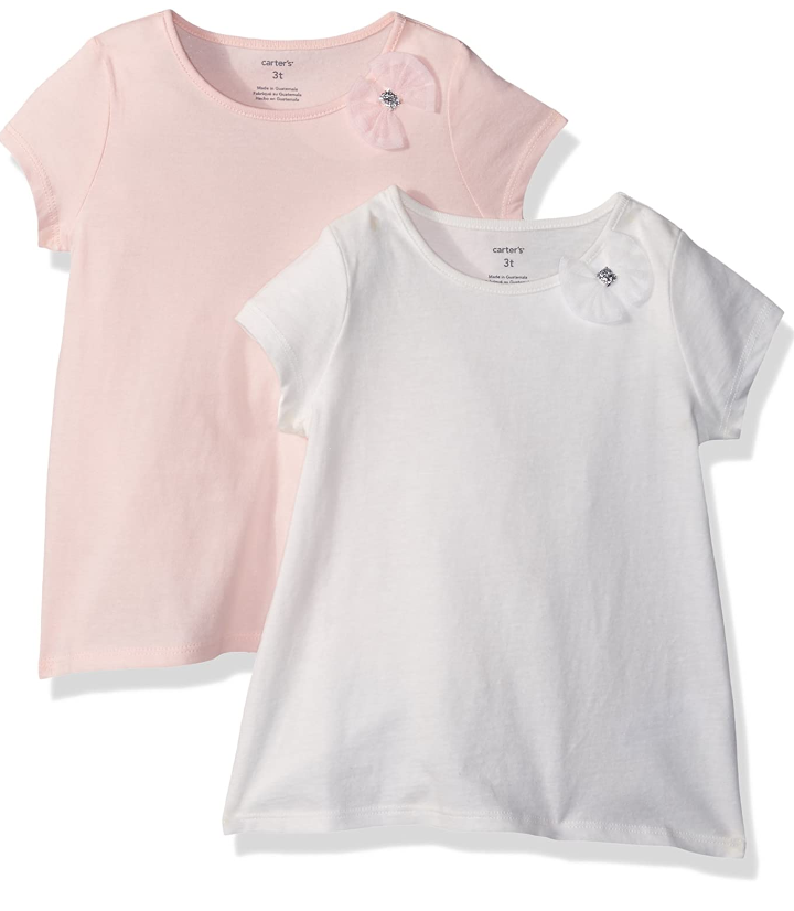 Carter's Girls' 2-Pack Bow Tees, 12 Months, Pink/White - $8.41