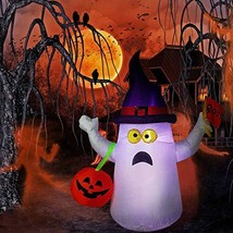 Hip Mall Halloween Inflatable Ghost, 4ft Lighted Blow Up Ghost Witch Hat... - $31.68