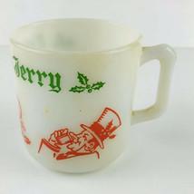 Tom & Jerry Holiday Christmas EGGNOG-PUNCH MUG-Cup MILK GLASS Hazel Atla... - $10.40