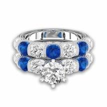 Round Sapphire & Sim Diamond With Six-prong Bar Setting Bridal Set For Female - $130.00