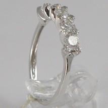 Ring aus Weißgold 750 18K, Verlobt 5 Zirkonia Kubische CT 1.00, Made in Italy image 2