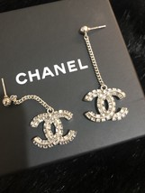 SALE* AUTH CHANEL 2019 LARGE CC LOGO Crystal Dangle Drop SILVER Earrings image 13