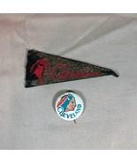 Cleveland Indians ca 1950's Mini Felt Pennant and Pinback - $21.49