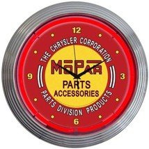 "Mopar Red Vintage Look Neon Light Neon Clock 15""x15"" - $69.00"