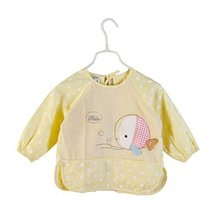 Cute Fish Waterproof Sleeved Bib Baby Feeding Bibs Kids Painting Apron YELLOW