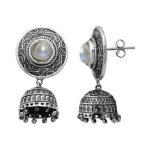 Rainbow Moonstone 925 Sterling Silver Vintage Looking Jhumka Earring SHE... - $47.37