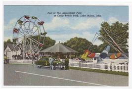 Amusement Park Police Car Lake Milton Ohio postcard - $5.45