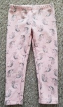 CARTER'S Pink with Silver Sparkly Unicorn Print Pants Girls Size 4T - $2.88