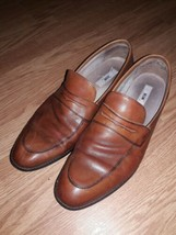 Joseph Abboud Mens Italian Leather Size 10.5 Penny Loafers Shoes Apron Toe  - $22.28