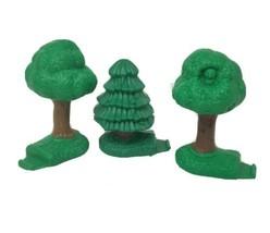 Lot De 3 Fisher Price Geo Trax Vert Arbres Evergreen Pièce de Rechange P... - $8.66