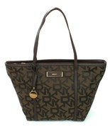 DKNY Shopper Tote Bag Brown Heritage Logo Monogram Canvas Large Handbag - $264.77