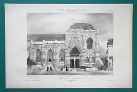 FRANCE Facade of Saint-Wulphy Church at Rue - SUPERB 1843 Antique Print image 2