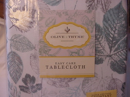 Olive & Thyme Aqua and Gray Leaves on White Indoor/Outdoor Tablecloth 70... - $35.00