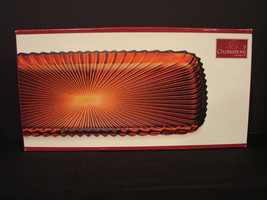 Celebrations by MIKASA Holiday Flair Collection Deep Red Glass Canape Tray - $14.99