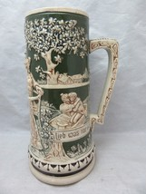 Antique German pottery beer stein. Couples Courting. Romance. Germany - $28.99