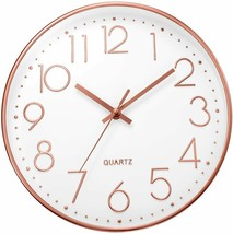 Ufengke Clock Wall Numbers 3D Gold Pink Single Clock Quartz Silent Modern - $214.20