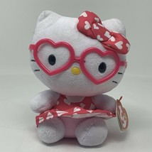 """TY Beanie Baby Hello Kitty Pink Heart Glasses Dress 6"""" Stuffed Toy - $8.99"""