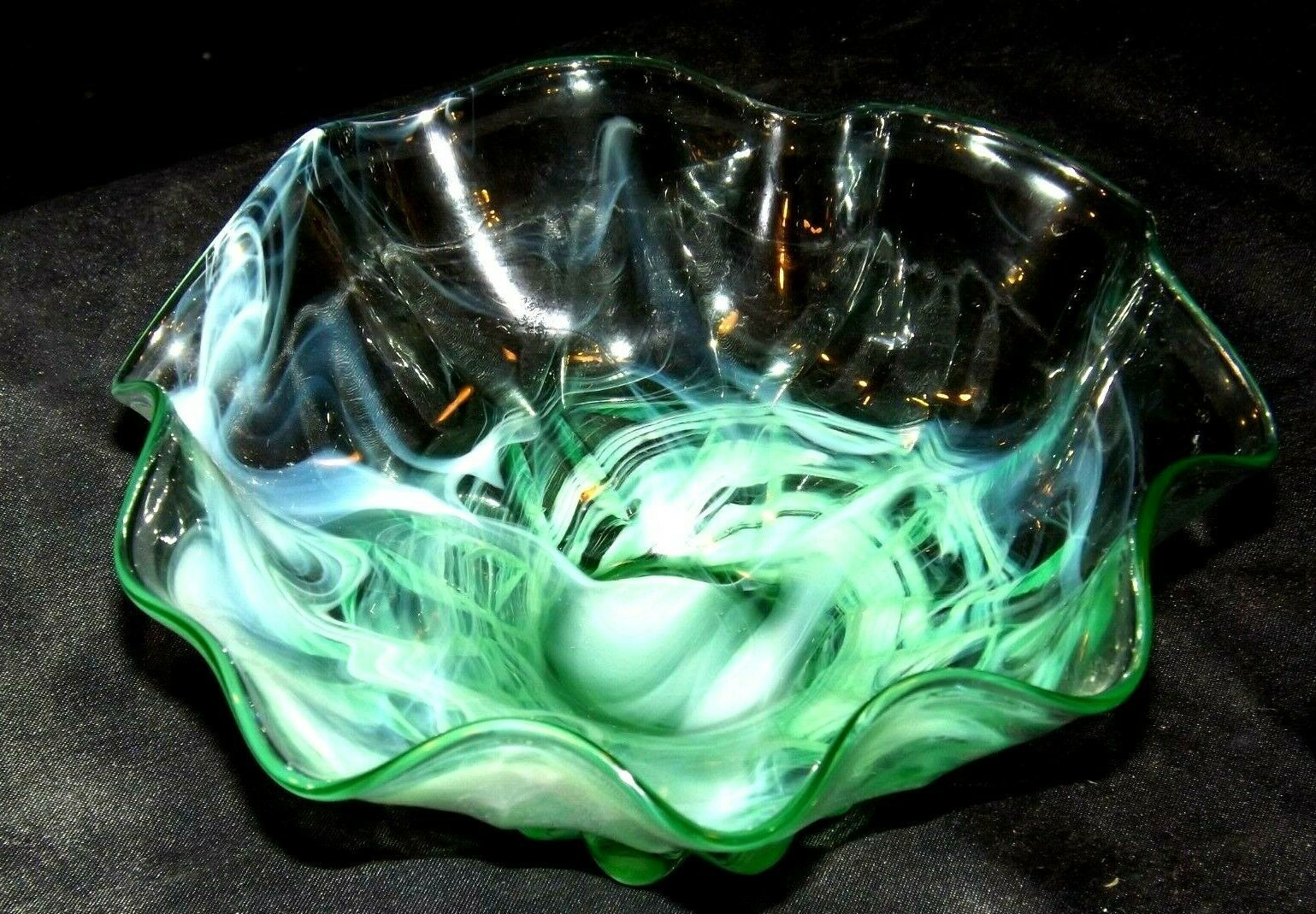 Opaque Green Footed Glass Candy Dish with colorful Swirls AA19-CD0032 Vintage