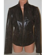 "ALFANI Leather Small Brown Jacket Coat Zip Front Chest: 38"" Womens Mint ... - $30.82"