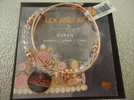 Alex And Ani Queen's Crown Art Infusion Set Of 2 Bangles Rose W/Tag Card & Box - $49.99