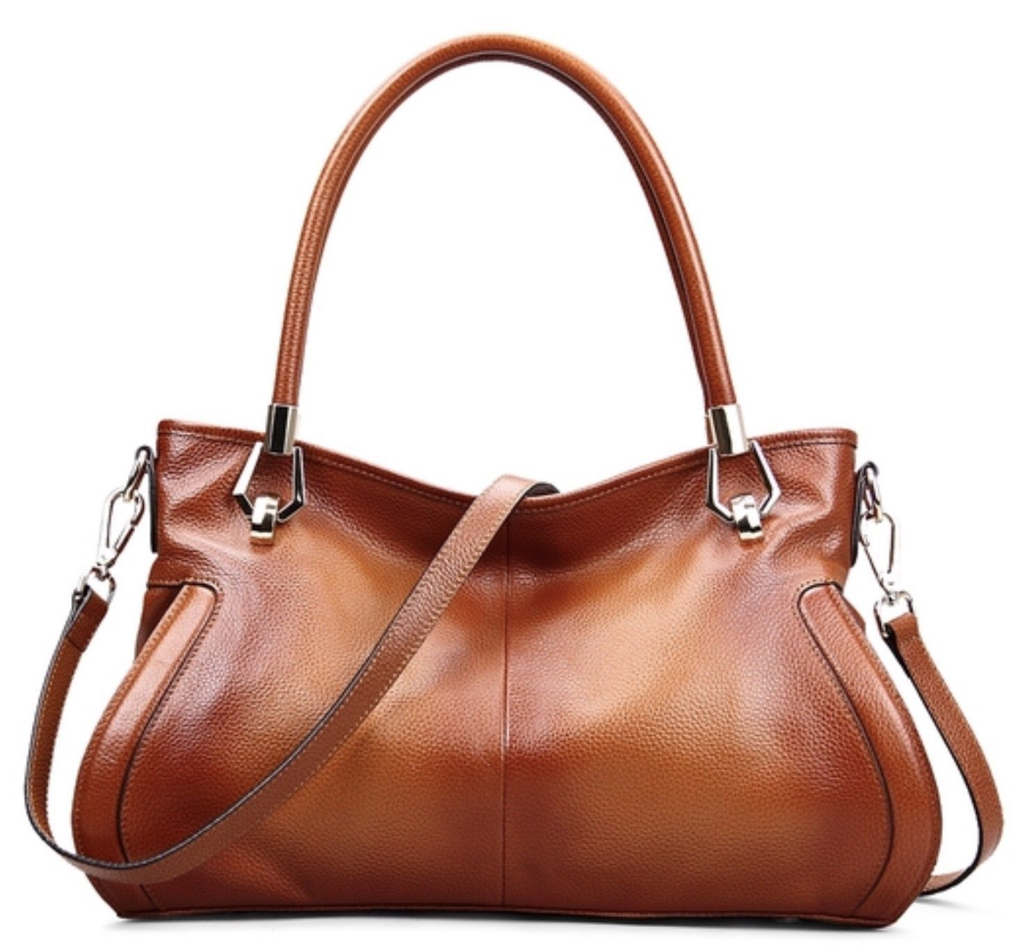 New Brown Pebbled Leather Satchel Handbag Purse Shoulder Bag