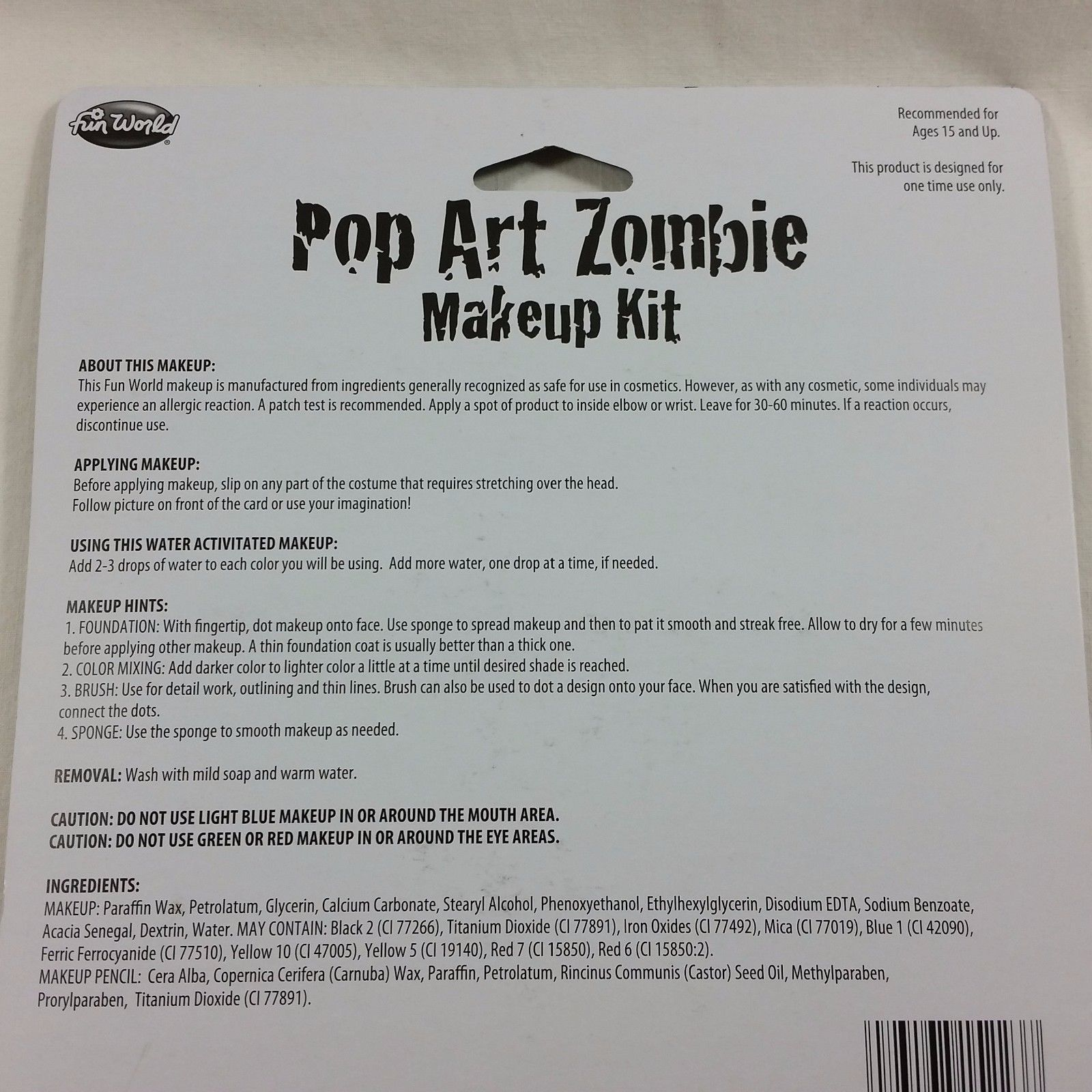 Makeup Kit Pop Art Zombie Blue Face Paint Day of the Dead Halloween Costume Male