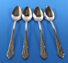 IMI27 IMPERIAL STAINLESS 4 SOUP SPOONS-OUTLINE DIAMOND SHAPE POINT TOP F... - $17.99