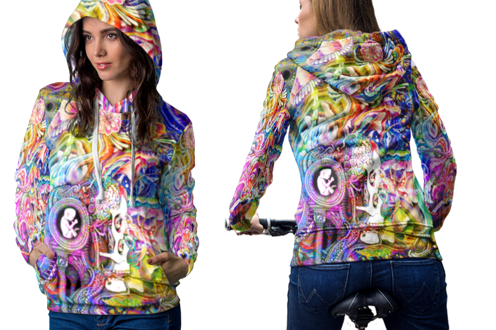 Psychedelic magic mushroom spiritual trippy tongue dmt hoodie women