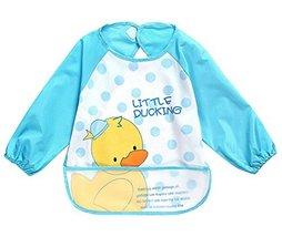 Cute Cartoon Duck Waterproof Sleeved Bib Baby Smock Baby Bibs, 0-3 Years