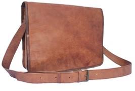 """New 11"""" Unisex Laptop Shoulder Vintage Rustic Leather Messenger Full Fla... - $62.70"""