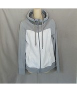 TG Tek Gear sweatshirt fleece hoodie  M  gray white full zip - $14.65