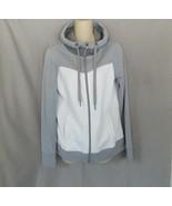 TG Tek Gear sweatshirt fleece hoodie  M  gray white full zip - $14.65
