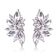 Luxury Leaves Shape Glass Cluster Crystal Teardrop Flower Design Stud Ear - $46.28